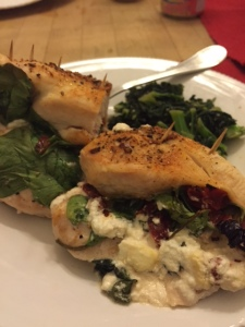 Chicken with goat cheese, sundried tomato and spinach